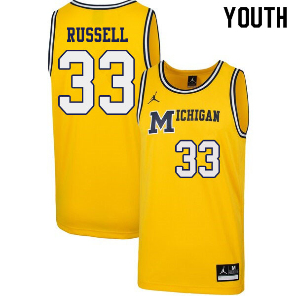 Youth #33 Cazzie Russell Michigan Wolverines 1989 Retro College Basketball Jerseys Sale-Yellow