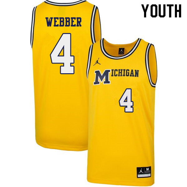Youth #4 Chris Webber Michigan Wolverines 1989 Retro College Basketball Jerseys Sale-Yellow