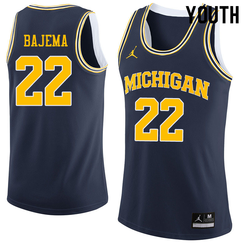 Youth #22 Cole Bajema Michigan Wolverines College Basketball Jerseys Sale-Navy