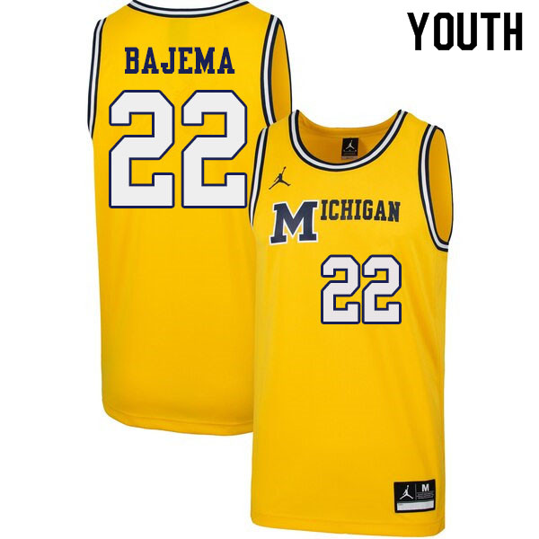 Youth #22 Cole Bajema Michigan Wolverines 1989 Retro College Basketball Jerseys Sale-Yellow