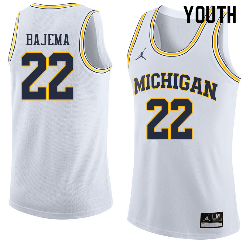 Youth #22 Cole Bajema Michigan Wolverines College Basketball Jerseys Sale-White