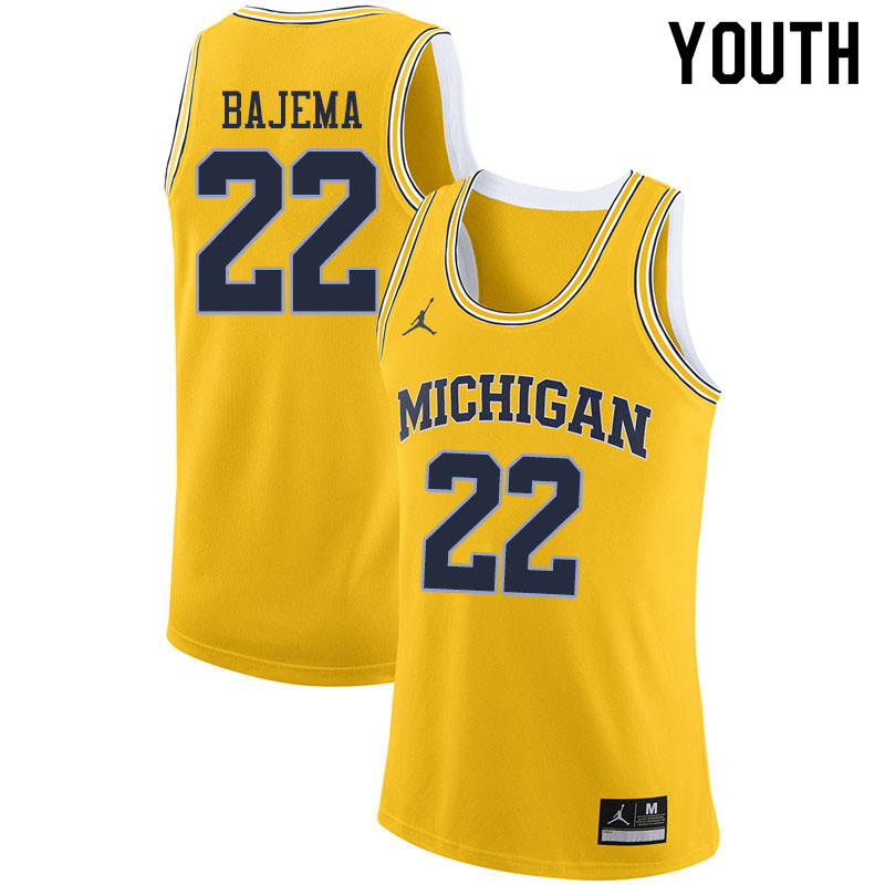 Youth #22 Cole Bajema Michigan Wolverines College Basketball Jerseys Sale-Yellow