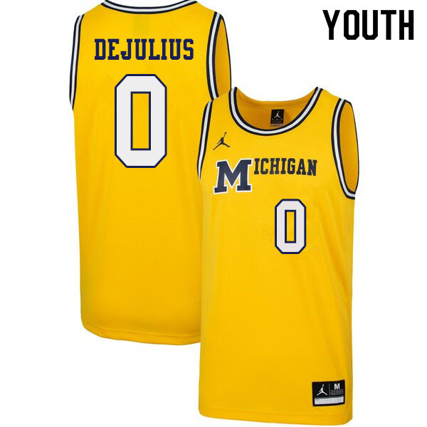 Youth #0 David DeJulius Michigan Wolverines 1989 Retro College Basketball Jerseys Sale-Yellow