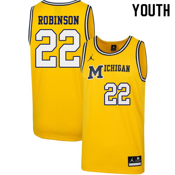 Youth #22 Duncan Robinson Michigan Wolverines 1989 Retro College Basketball Jerseys Sale-Yellow