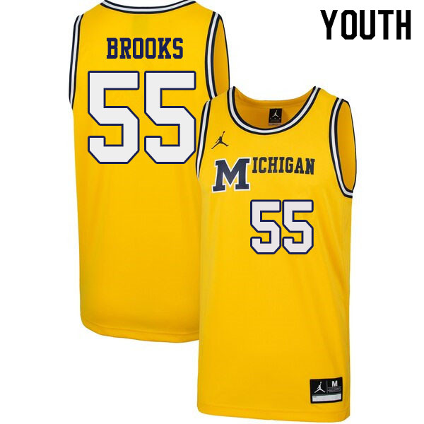 Youth #55 Eli Brooks Michigan Wolverines 1989 Retro College Basketball Jerseys Sale-Yellow