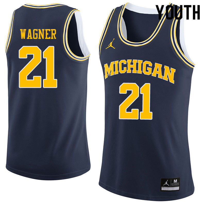 Youth #21 Franz Wagner Michigan Wolverines College Basketball Jerseys Sale-Navy
