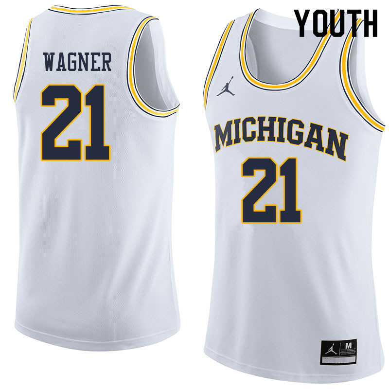 Youth #21 Franz Wagner Michigan Wolverines College Basketball Jerseys Sale-White