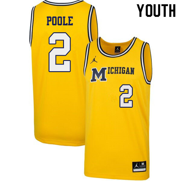 Youth #2 Jordan Poole Michigan Wolverines 1989 Retro College Basketball Jerseys Sale-Yellow