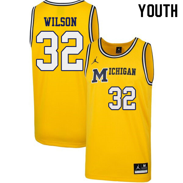 Youth #32 Luke Wilson Michigan Wolverines 1989 Retro College Basketball Jerseys Sale-Yellow