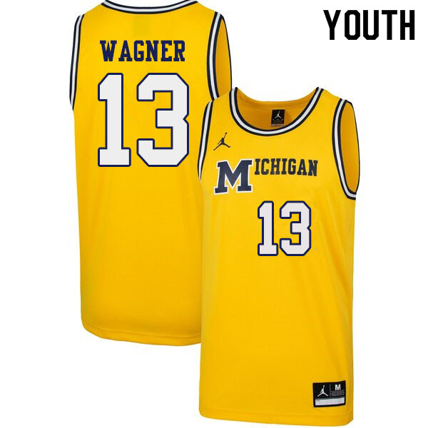Youth #13 Moritz Wagner Michigan Wolverines 1989 Retro College Basketball Jerseys Sale-Yellow