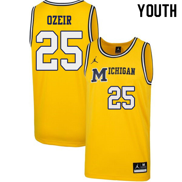 Youth #25 Naji Ozeir Michigan Wolverines 1989 Retro College Basketball Jerseys Sale-Yellow