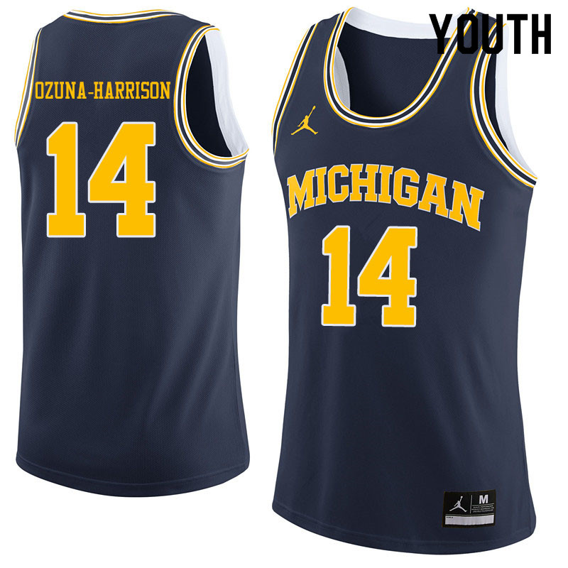 Youth #14 Rico Ozuna-Harrison Michigan Wolverines College Basketball Jerseys Sale-Navy