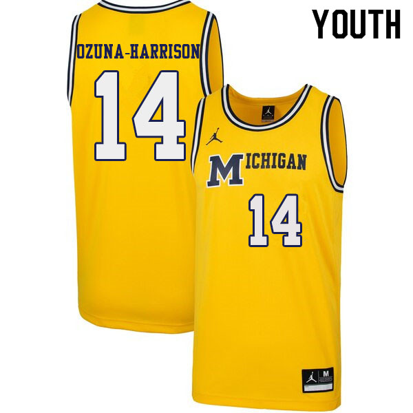 Youth #14 Rico Ozuna-Harrison Michigan Wolverines 1989 Retro College Basketball Jerseys Sale-Yellow