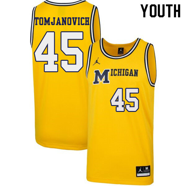Youth #45 Rudy Tomjanovich Michigan Wolverines 1989 Retro College Basketball Jerseys Sale-Yellow