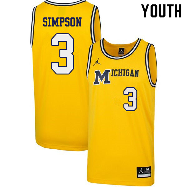 Youth #3 Zavier Simpson Michigan Wolverines 1989 Retro College Basketball Jerseys Sale-Yellow