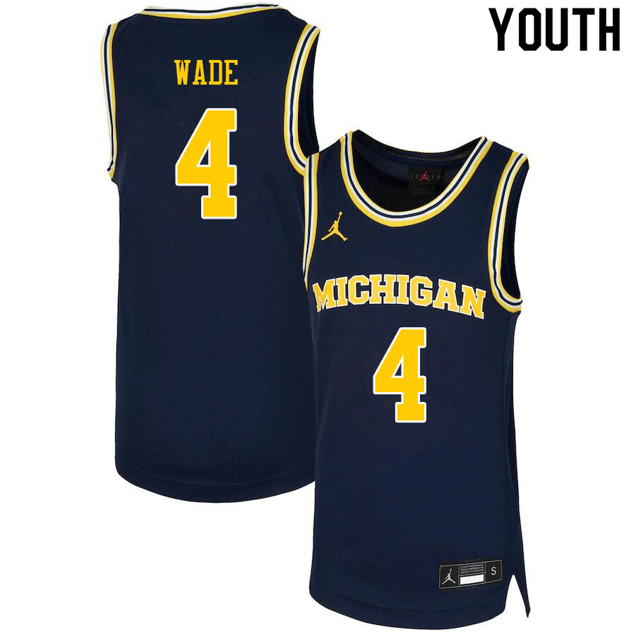 Youth #4 Brandon Wade Michigan Wolverines College Basketball Jerseys Sale-Navy