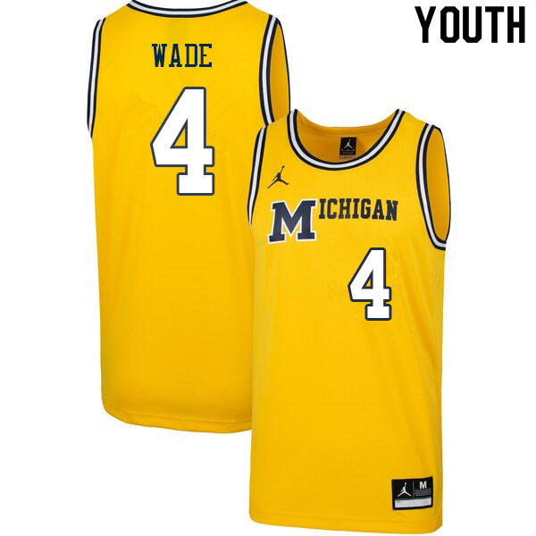 Youth #4 Brandon Wade Michigan Wolverines College Basketball Jerseys Sale-Retro