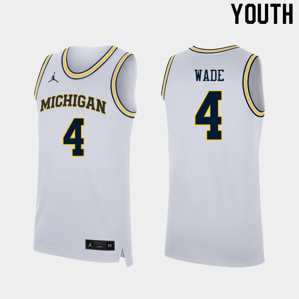 Youth #4 Brandon Wade Michigan Wolverines College Basketball Jerseys Sale-White