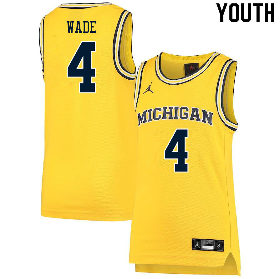Youth #4 Brandon Wade Michigan Wolverines College Basketball Jerseys Sale-Yellow