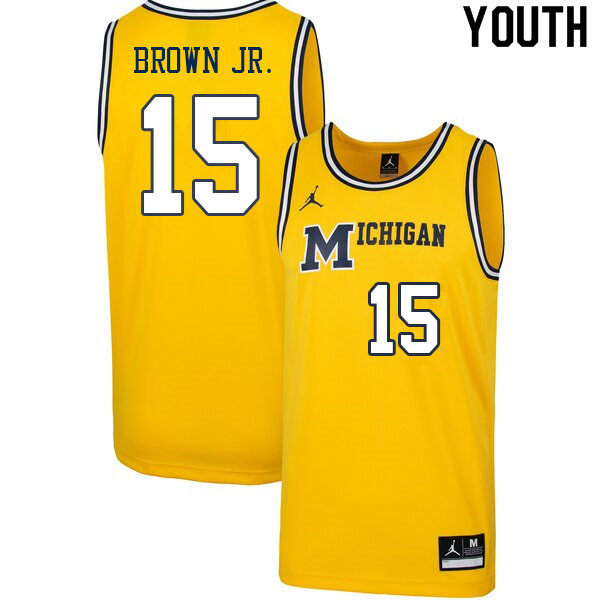 Youth #15 Chaundee Brown Jr. Michigan Wolverines College Basketball Jerseys Sale-Retro