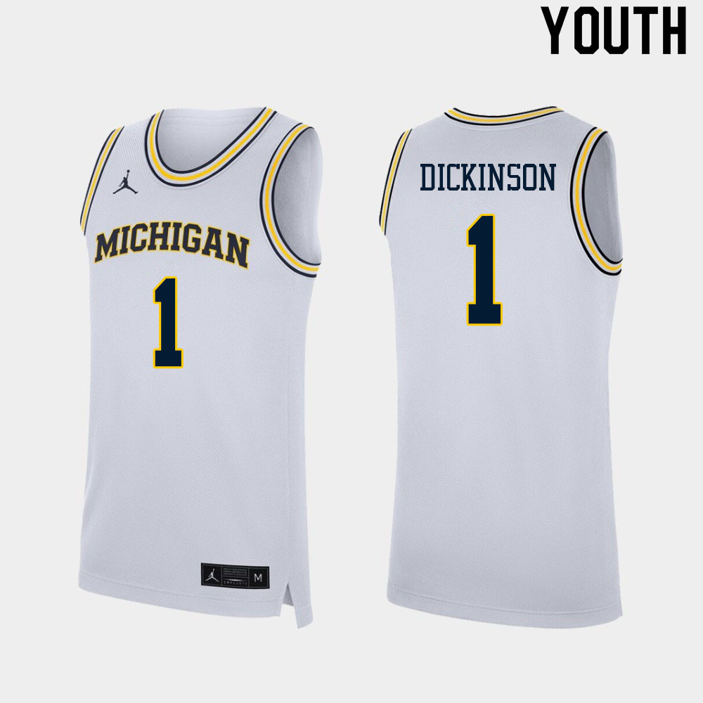 Youth #1 Hunter Dickinson Michigan Wolverines College Basketball Jerseys Sale-White