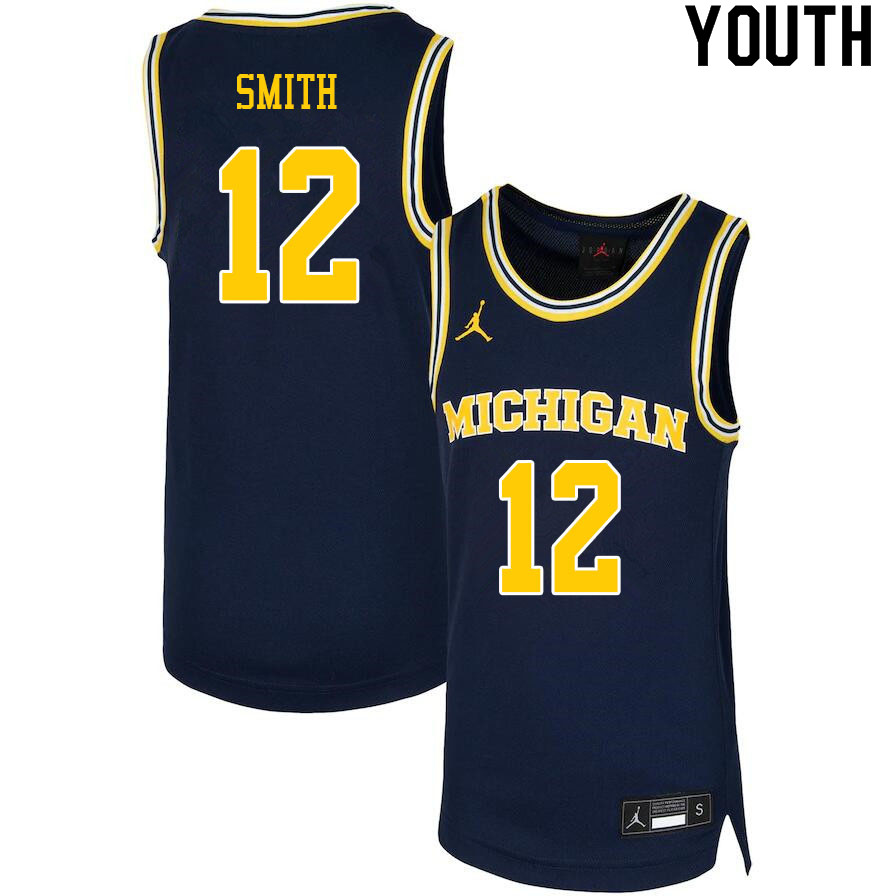 Youth #12 Mike Smith Michigan Wolverines College Basketball Jerseys Sale-Navy