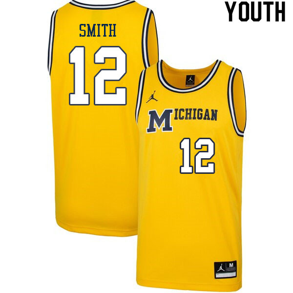 Youth #12 Mike Smith Michigan Wolverines College Basketball Jerseys Sale-Retro