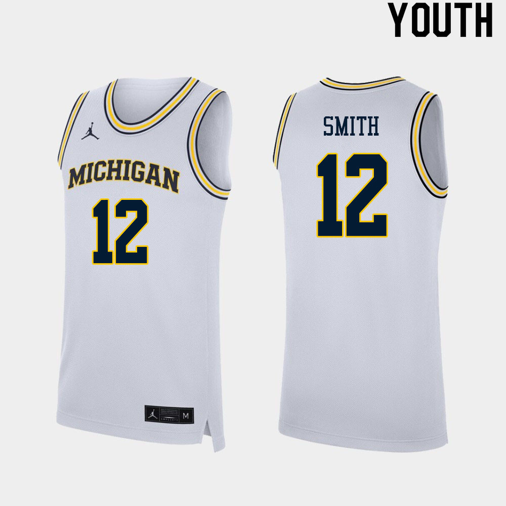 Youth #12 Mike Smith Michigan Wolverines College Basketball Jerseys Sale-White