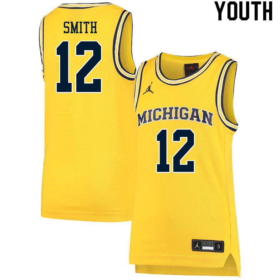 Youth #12 Mike Smith Michigan Wolverines College Basketball Jerseys Sale-Yellow