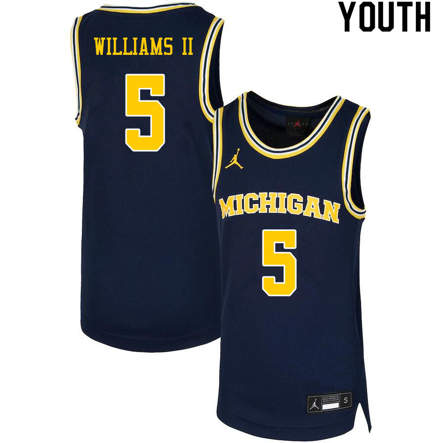 Youth #5 Terrance Williams II Michigan Wolverines College Basketball Jerseys Sale-Navy