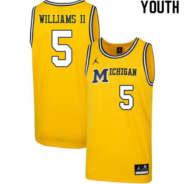 Youth #5 Terrance Williams II Michigan Wolverines College Basketball Jerseys Sale-Retro