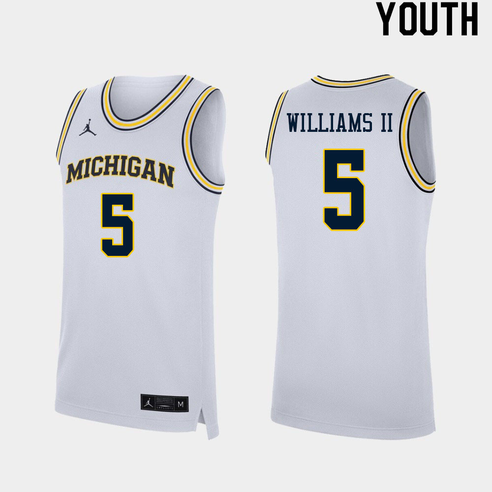 Youth #5 Terrance Williams II Michigan Wolverines College Basketball Jerseys Sale-White
