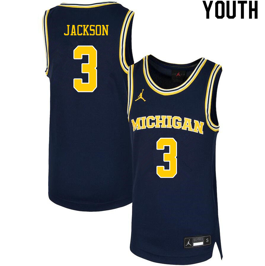 Youth #3 Zeb Jackson Michigan Wolverines College Basketball Jerseys Sale-Navy