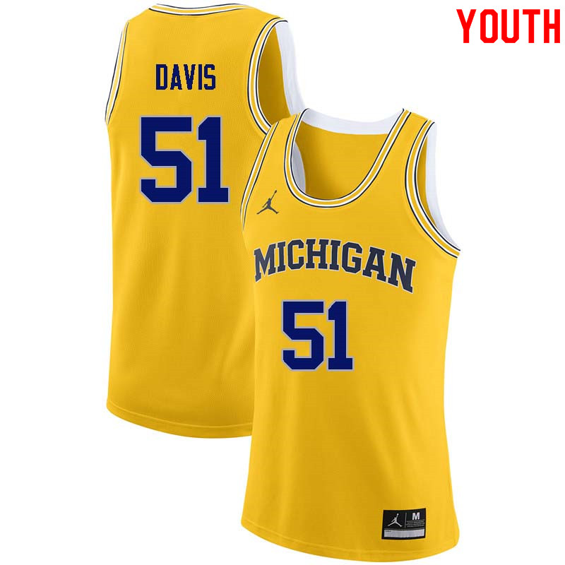 Youth #51 Austin Davis Michigan Wolverines College Basketball Jerseys Sale-Yellow