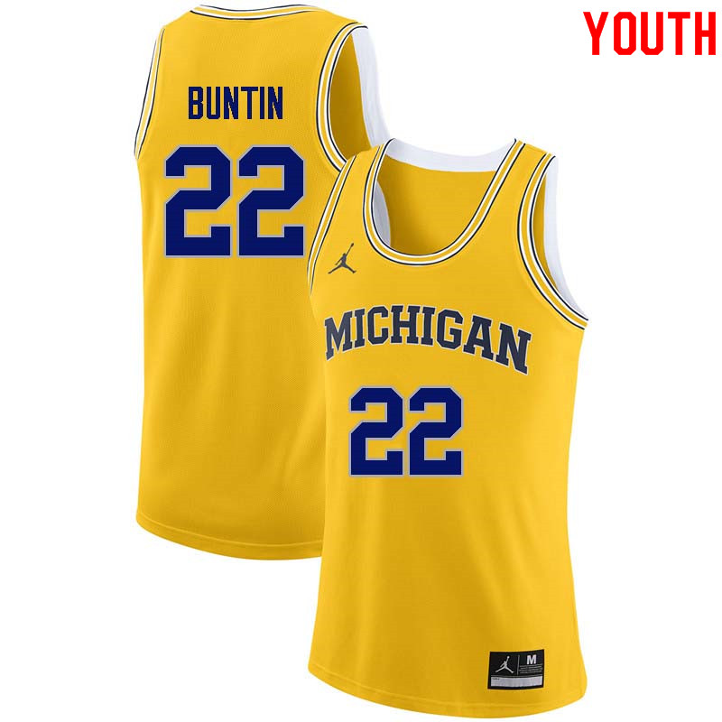 Youth #22 Bill Buntin Michigan Wolverines College Basketball Jerseys Sale-Yellow