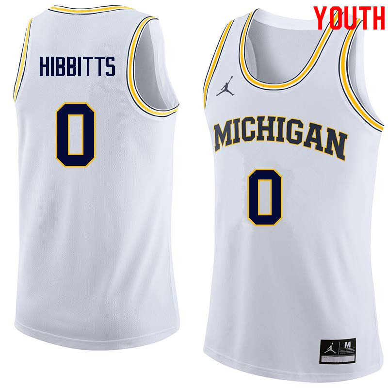 Youth #0 Brent Hibbitts Michigan Wolverines College Basketball Jerseys Sale-White