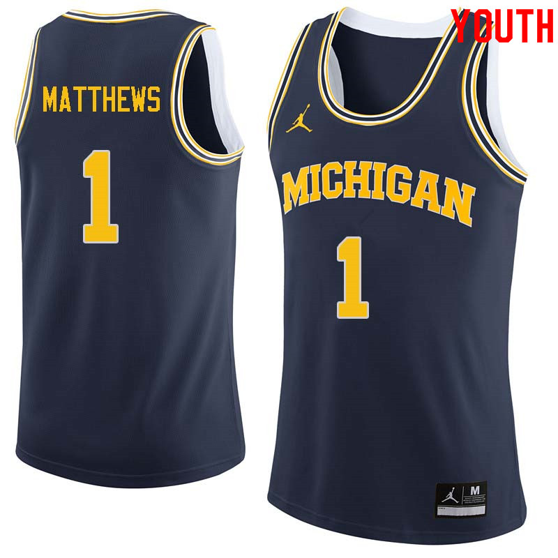 Youth #1 Charles Matthews Michigan Wolverines College Basketball Jerseys Sale-Navy