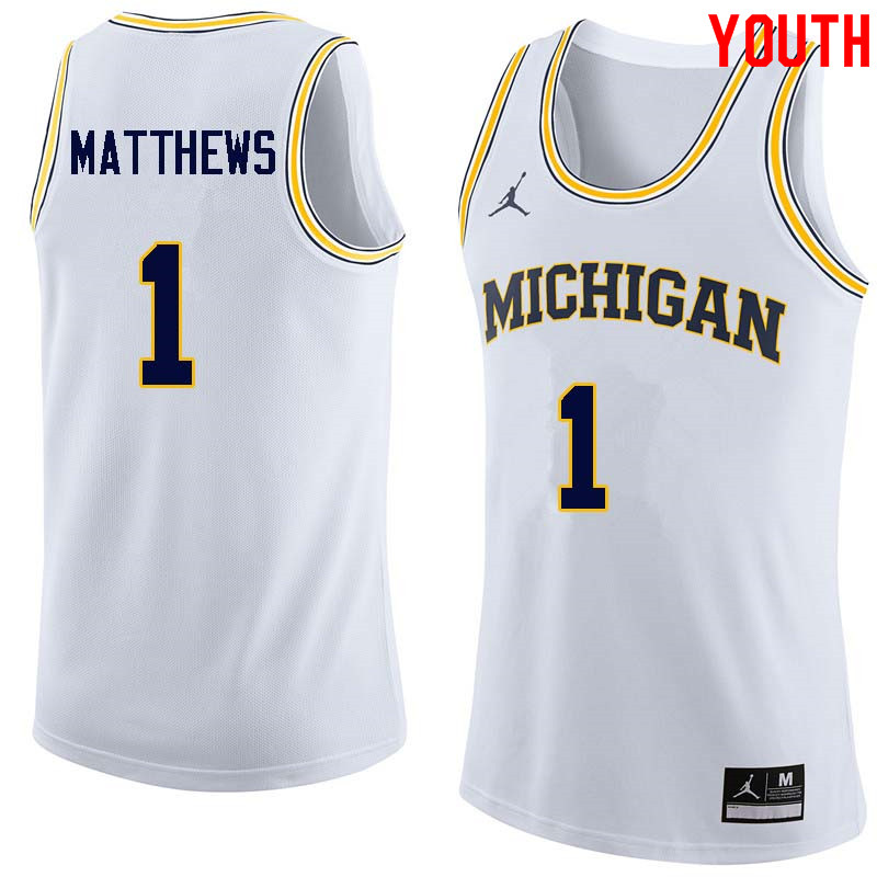 Youth #1 Charles Matthews Michigan Wolverines College Basketball Jerseys Sale-White
