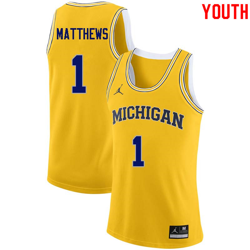 Youth #1 Charles Matthews Michigan Wolverines College Basketball Jerseys Sale-Yellow