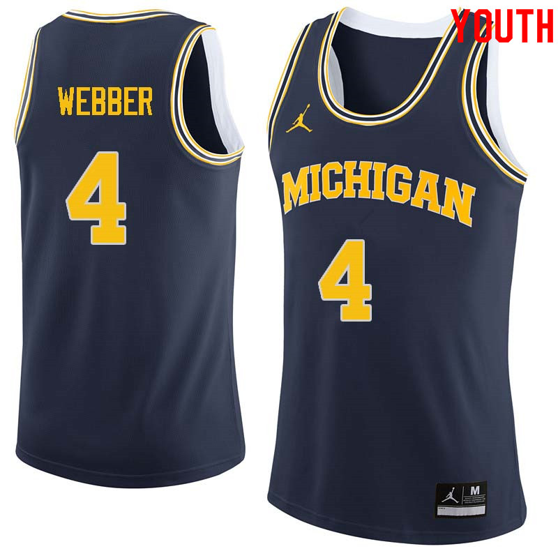 Youth #4 Chris Webber Michigan Wolverines College Basketball Jerseys Sale-Navy