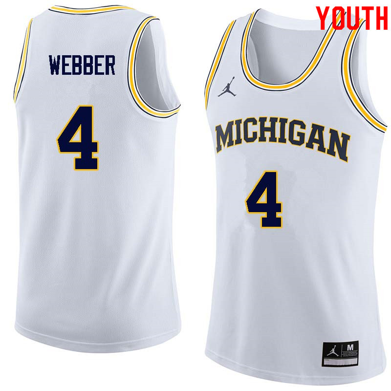 Youth #4 Chris Webber Michigan Wolverines College Basketball Jerseys Sale-White
