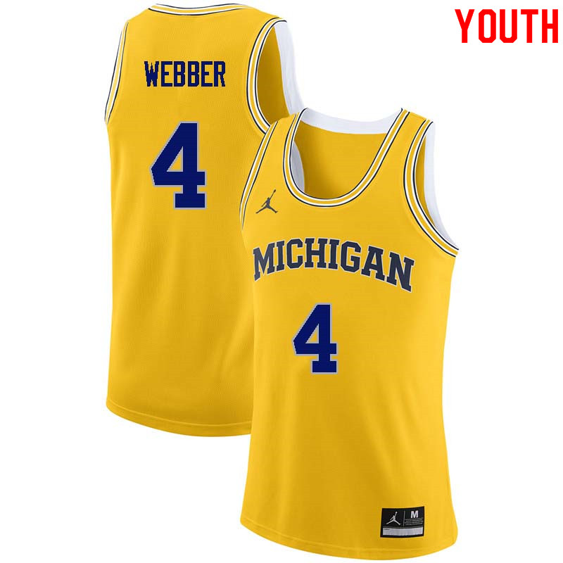 Youth #4 Chris Webber Michigan Wolverines College Basketball Jerseys Sale-Yellow