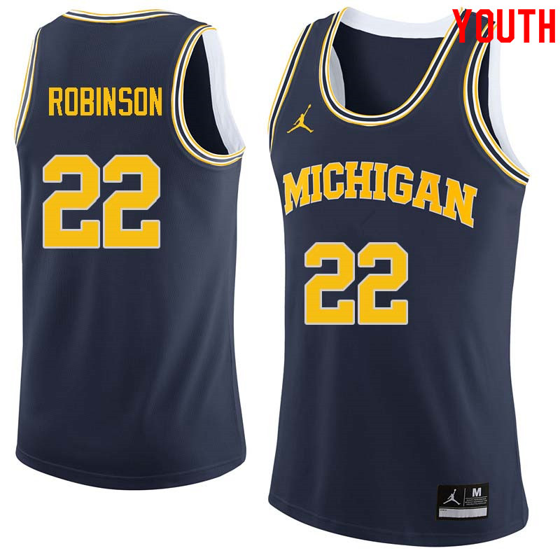 Youth #22 Duncan Robinson Michigan Wolverines College Basketball Jerseys Sale-Navy