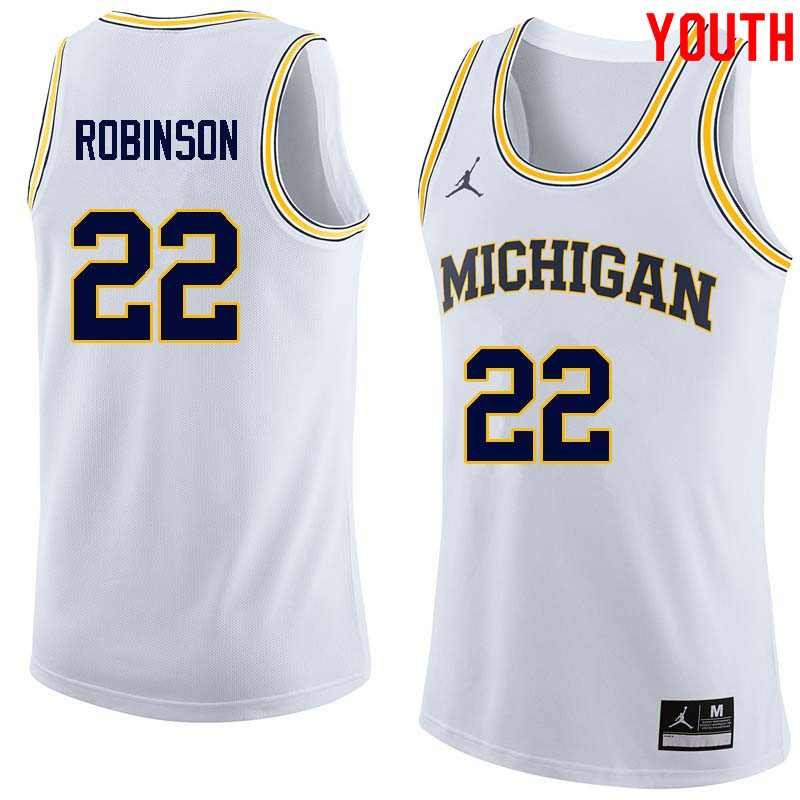 Youth #22 Duncan Robinson Michigan Wolverines College Basketball Jerseys Sale-White