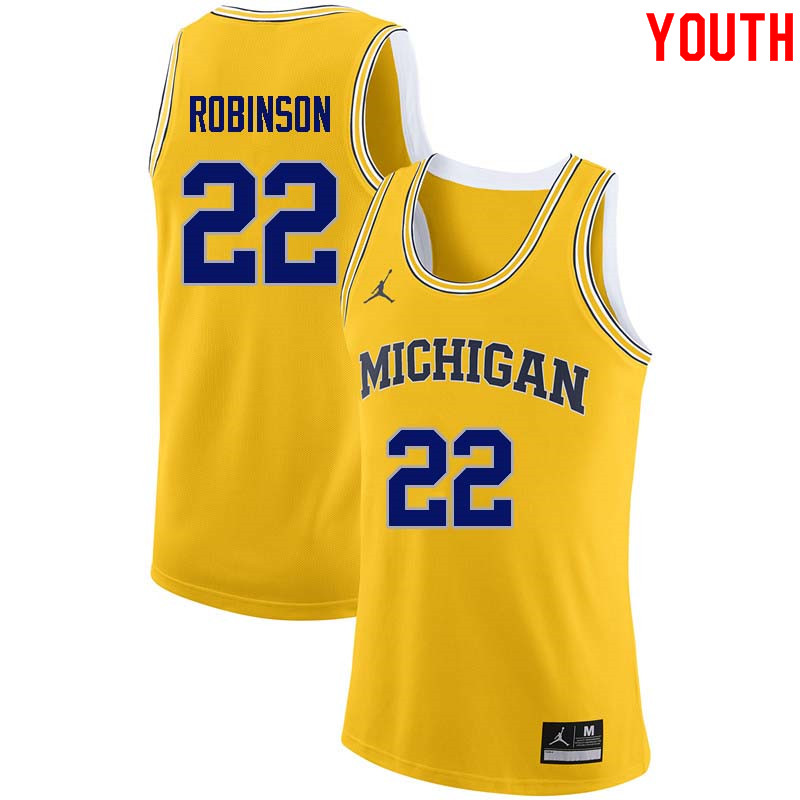 Youth #22 Duncan Robinson Michigan Wolverines College Basketball Jerseys Sale-Yellow
