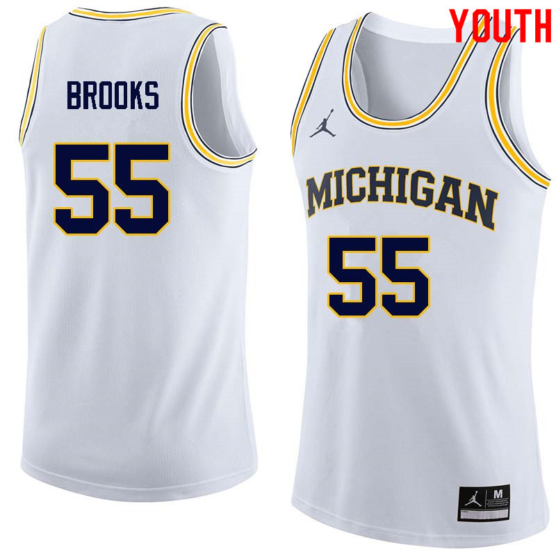 Youth #55 Eli Brooks Michigan Wolverines College Basketball Jerseys Sale-White