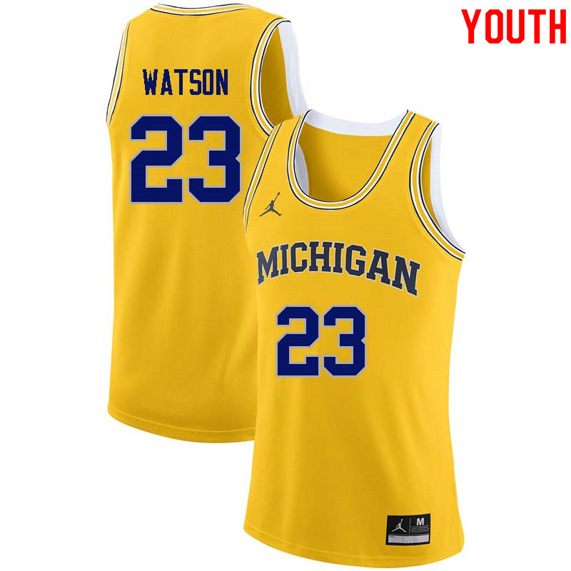 Youth #23 Ibi Watson Michigan Wolverines College Basketball Jerseys Sale-Yellow