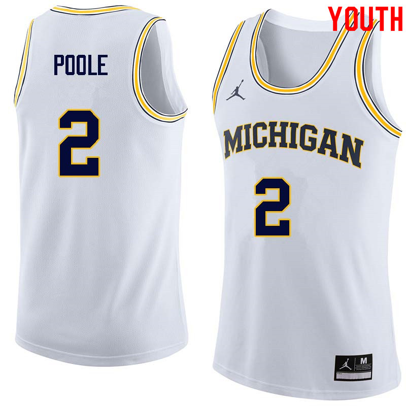 Youth #2 Jordan Poole Michigan Wolverines College Basketball Jerseys Sale-White