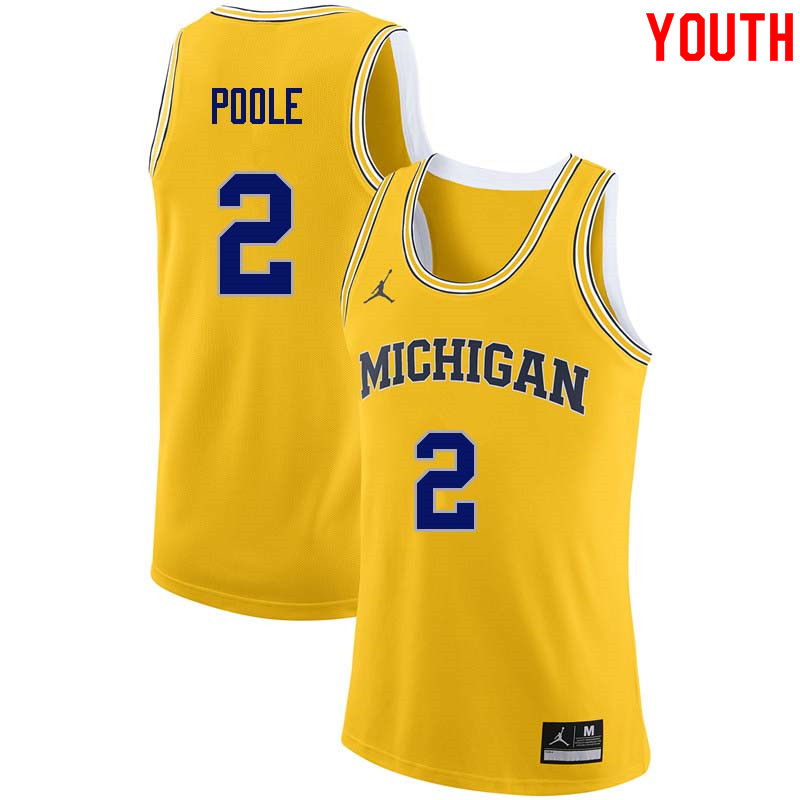 Youth #2 Jordan Poole Michigan Wolverines College Basketball Jerseys Sale-Yellow