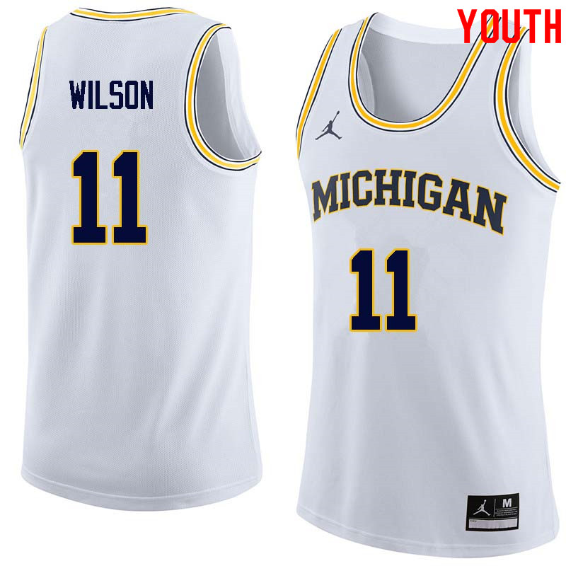 Youth #11 Luke Wilson Michigan Wolverines College Basketball Jerseys Sale-White